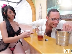 Hot fuck together with cum load for a ladyman