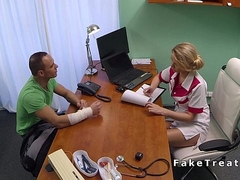 Blonde nurse fucks big dick in office in bit medical centre