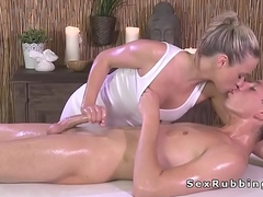 Blonde masseuse pretentiously cock massage in oil