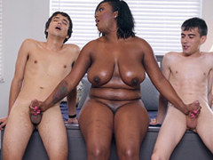 Jet-black Milf Layton Benton gives a double tugjob to Jordi El Nino Polla and Ricky Spanish -2