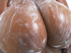 Rachel Raxxx gets her well-known tits all soapy and wet