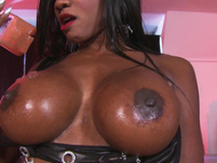 Diamond Jackson give him massage using her big tits only
