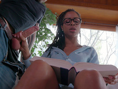 Teen Kira Noir jerks her boyfriends horseshit while trying to study