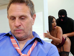 Cheating wife Aryana Adin fucked and facialized by a burglar