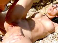 Hot dude fucks tight dirty ass hole o the beach