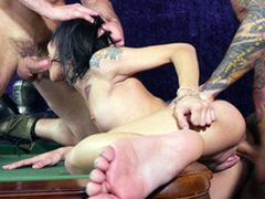 Two reprobate males banged Holly Hendrix's each hole on the pool table