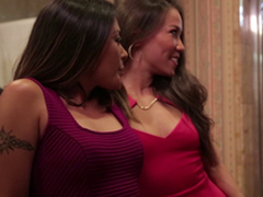 Lavish ladies attack a hunk in a bathroom for a nice threesome