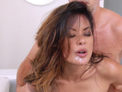 Hawt Oriental Chick Acquires Hairless Snatch And Anal invasion Crevice A Hard-core Pounding