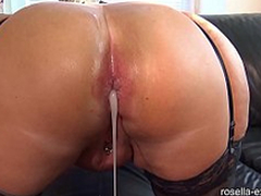 Submissive slut hard Ass fucked by a slanderous men horde, including extreme filling with sperm coupled with piss!