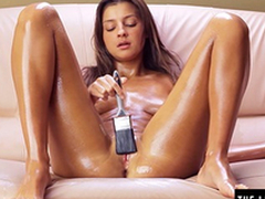 Teen brushes herself with oil coupled with cums hard