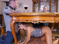 Latina secretary Venus Afrodita gives a XXX blowjob to boss' stepson