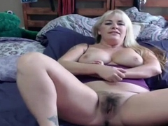 Dirty talking MILF with hairy pussy