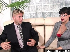 HumiliatedMilfs - Horny secretary loves a cock up the brush ass